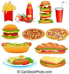 Mit einem Set Fastfood und Ketchup Pitsey