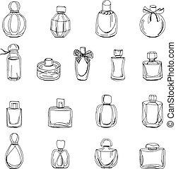 Mit Flaschen weiblichen Parfüm, isoliert auf weiß. Objekte auf weißem Hintergrund für Modedesign.
