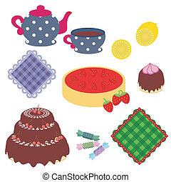 Mit Gegenständen für die Teeparty