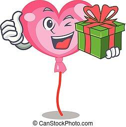 Mit Geschenkballon Herz Maskottchen Cartoon.