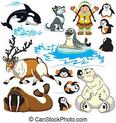 Mit Karikaturen von arktischen Tieren.