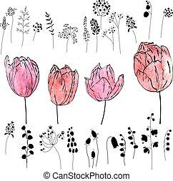 Mit rosa und roten Tulpen, isoliert auf weiß. Wasserfarbeneffekt.Flower, Pflanzen und Kräuter - schwarze Silhouetten.