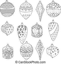 Mit stilisierten, dekorierten Spielzeugen. Kontur, schwarz und weiß. Weihnachtssammelaktion auf weißem Hintergrund