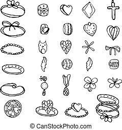 Mit stilisierten Ringen, Perlen und Charme für junge Frau. Objekte, isoliert auf weiß