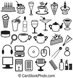 Mit verschiedenen Objekten.