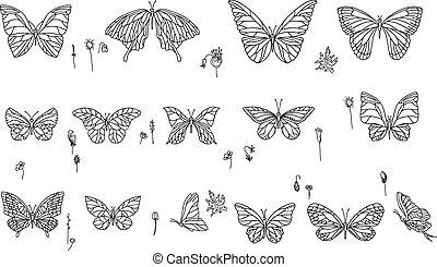 Mit verschiedenen Schmetterlingen. Schwarz und weiß.