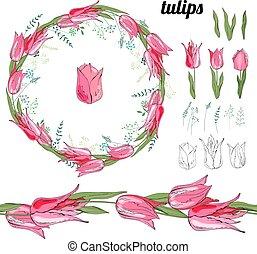 Mit verschiedenen Tulpen auf Weiß.
