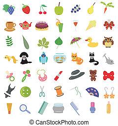 Mit vielen verschiedenen Objekten