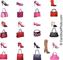 Mit weiblichen Taschen und Schuhen isoliert auf weißem Hintergrund. Objekte für Ihr Design, Ankündigungen, Werbung, Plakate.