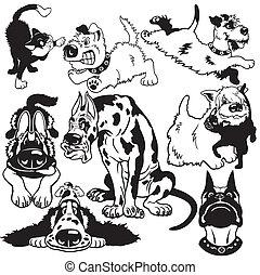 Mit Zeichentrickhunden schwarzweiß.