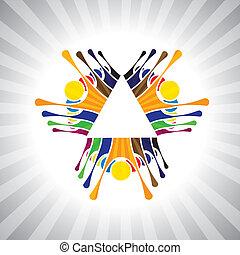Mitarbeiterteam & Teamwork oder Kinder, die Spaß miteinander haben... einfache Vektorgrafik. Diese Illustration kann auch Kinder spielen, Arbeiterdemonstration, begeisterte Menschen, angeregte Menschen, feierliche Stimmung darstellen