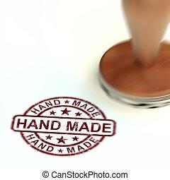 mittel, briefmarke, -, handgearbeitet, abbildung, produkte, handwerker, hand gemacht, 3d