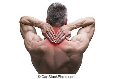 Mittelalter Mann mit Halsschmerzen, muskulöser männlicher Körper, Studio isoliert auf weißem Hintergrund.