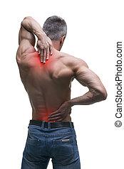 Mittelalter Mann mit Rückenschmerzen, muskulöser männlicher Körper, Studio isoliert auf weißem Hintergrund.