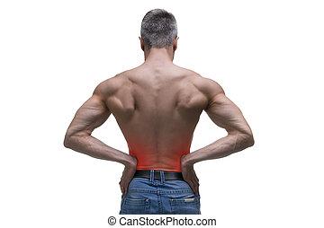 Mittelalter Mann mit Schmerz in den Nieren, muskulöser männlicher Körper, Studio isoliert auf weißem Hintergrund.