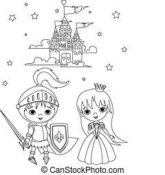 Mittelalter Ritter und Prinzessinnenfarbe