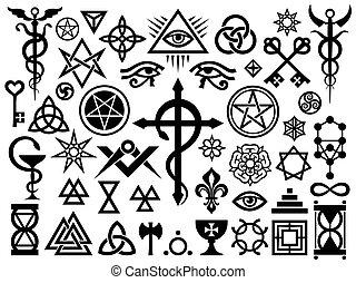 Mittelalterliche okkulte Zeichen und magische Briefmarken