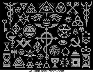 Mittelalterliche okkulte Zeichen und magische Briefmarken (Silver Black Edition).