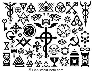 Mittelalterliche okkulte Zeichen und magische Stempel (Origin Set).