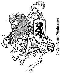 Mittelalterlicher Ritter auf Pferd schwarz und weiß