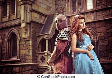 Mittelalterlicher Ritter mit seiner geliebten Dame