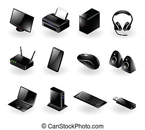 Mixed Computer Hardware Icons.