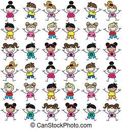 Mixed ethnische Kinder nahtlos Muster.