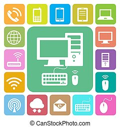 Mobile Geräte , Computer- und Netzwerkverbindungen Symbole gesetzt. Illustration