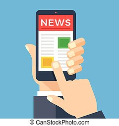 Mobile News App auf Smartphone-Bildschirm.