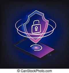 Mobile Security App auf 3D Smartphone-Bildschirm.