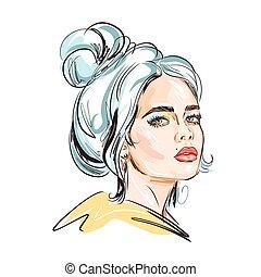 mode, abbildung, look., ungewöhnlich, schöne , hand-drawn, aufmachung, m�dchen, blaues, stilvoll, junger, hair.