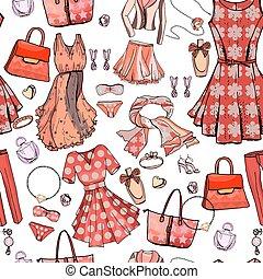 mode, bags., style., design., blaues, unterwäsche, muster, seamless, beschaffenheit, accessoirs, weißes, brassière, frau, color., glanz, juwel, gegenstände, kleidet, endlos, romantische , licht