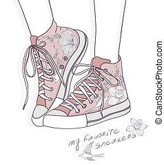 Mode-Hintergrund mit Schuhen