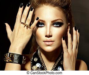 Mode-Rocker-Model-Mädchen-Porträt