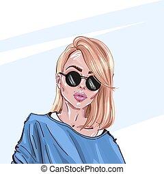 mode, schöne , abbildung, sunglasses., stilvoll, look., blond, m�dchen, junger, hand-drawn