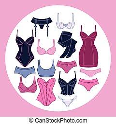 Mode Unterwäsche-Hintergrunddesign mit weiblicher Unterwäsche.