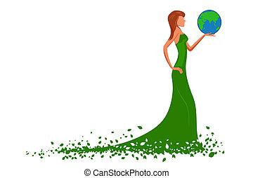 Modefrau mit Globus.