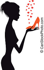 Modefrau mit rotem Schuh, Vektor