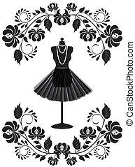 Modekarte mit Schaufensterpuppen mit Halskette und Rock in Blumenrahmen