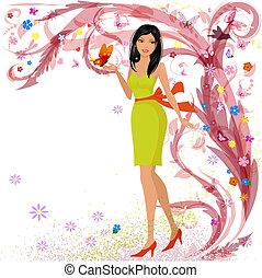 Modemädchen in Blumen für Ihr Design.