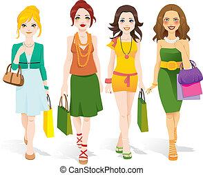 Modemädchen laufen.