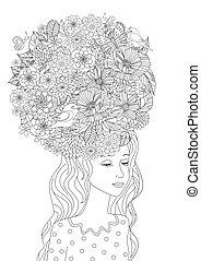 Modemädchen mit Blumen in Haaren für Ihre Farbseite.