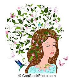 Modemädchen mit Blumenhaar für Ihr Design.