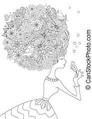 Modemädchen mit Blumenhaar für Ihr Farbbuch.