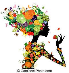 Modemädchen mit Haaren aus Früchten für dein Design