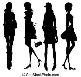 Modemädchen Silhouette