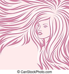 Modemädchenporträt. Schöne Frau mit langen Haaren