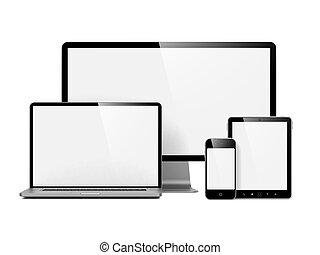 modern, elektronisch, freigestellt, vorrichtungen & hilfsmittel, white.