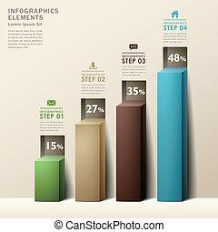 Moderne, abstrakte 3d Diagramm Infographics.