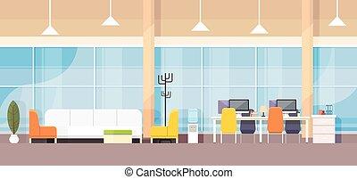 Moderne Büro-Innenräume Büro-Arbeitsplatz-Flachbild.